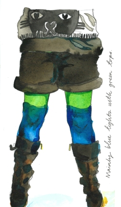 Blue tights with green tops by Myfanwy Tristram