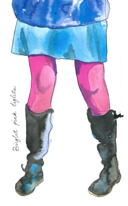 bright pink tights by Myfanwy Tristram