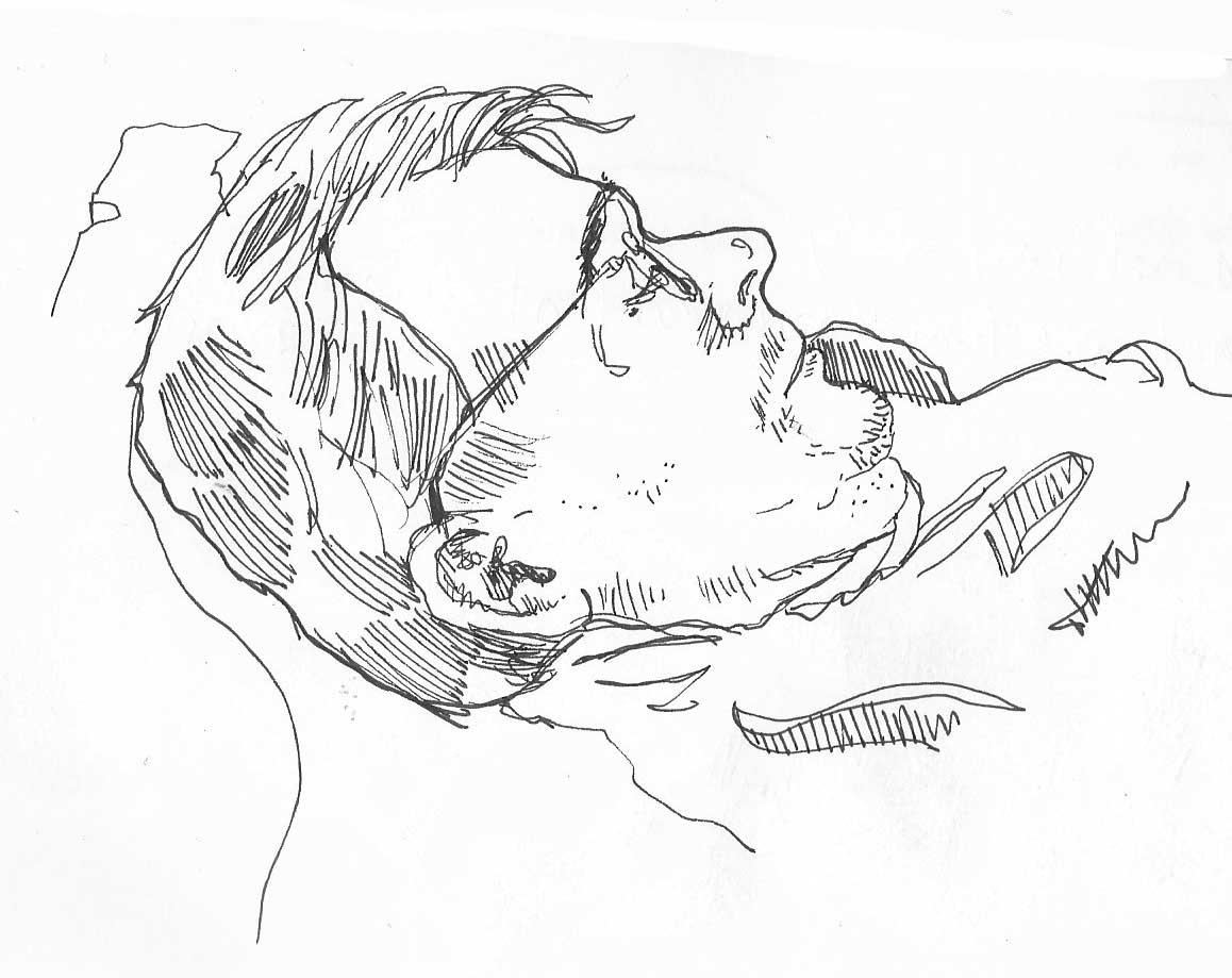 Resting husband, by Myfanwy Tristram