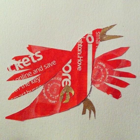 bus ticket bird by Myfanwy Tristram