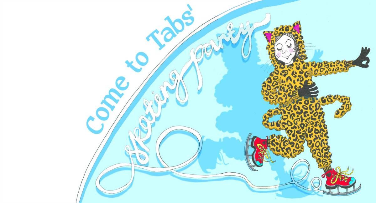 Skating party invitation by Myfanwy Tristram