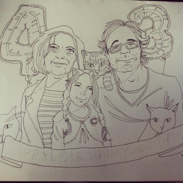 Birthday card line drawing  by Myfanwy Tristram