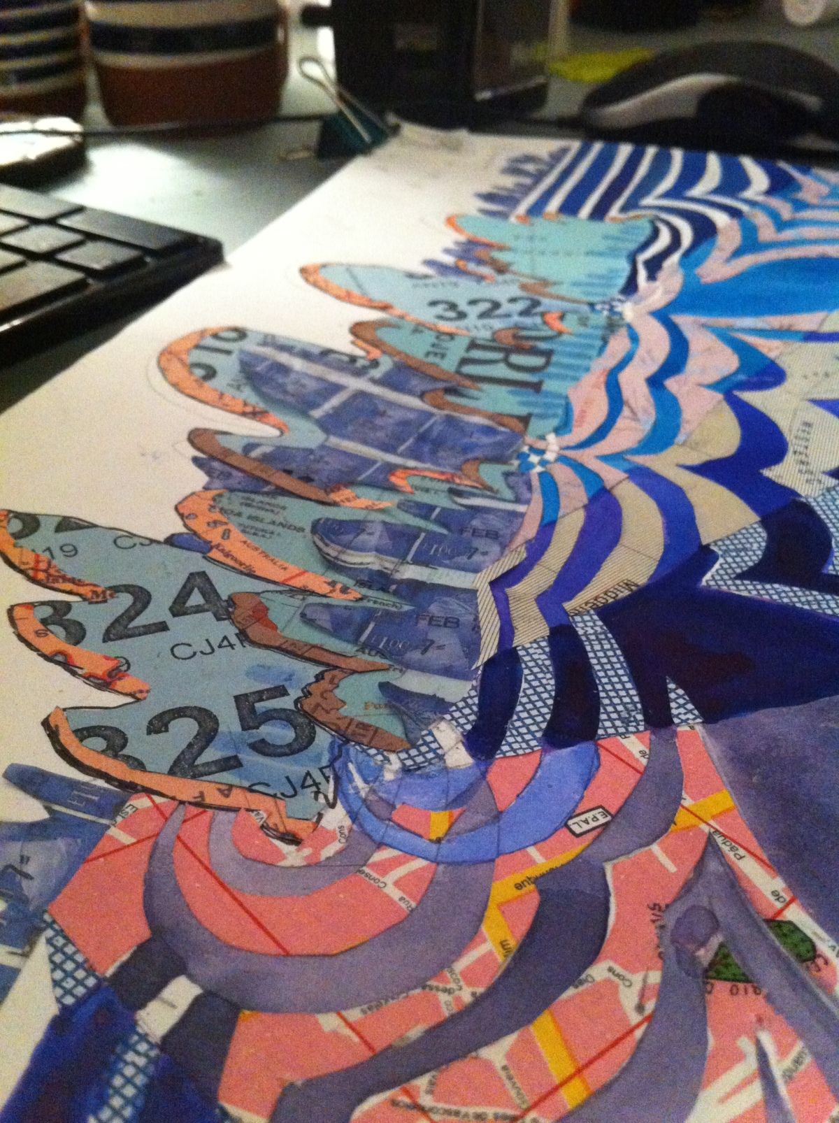 Sea collage WiP by Myfanwy Tristram