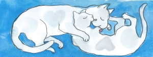 valentines cats by Myfanwy Trsitram