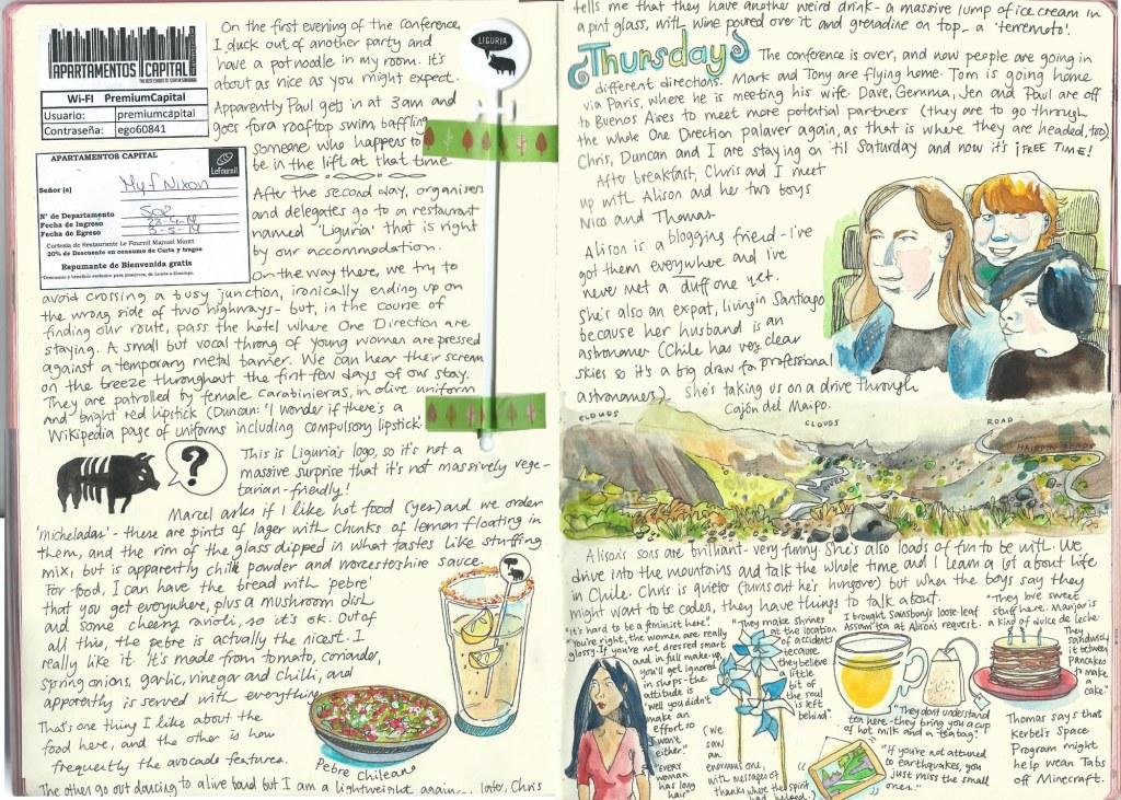 Santiago sketch diary by Myfanwy Tristram