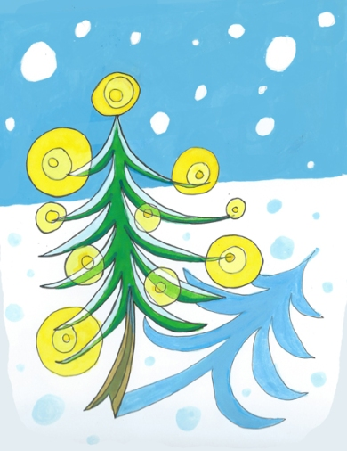 Christmas tree card by Myfanwy Tristram