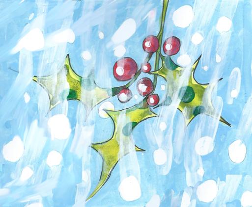 Snowy Holly by Myfanwy Tristram