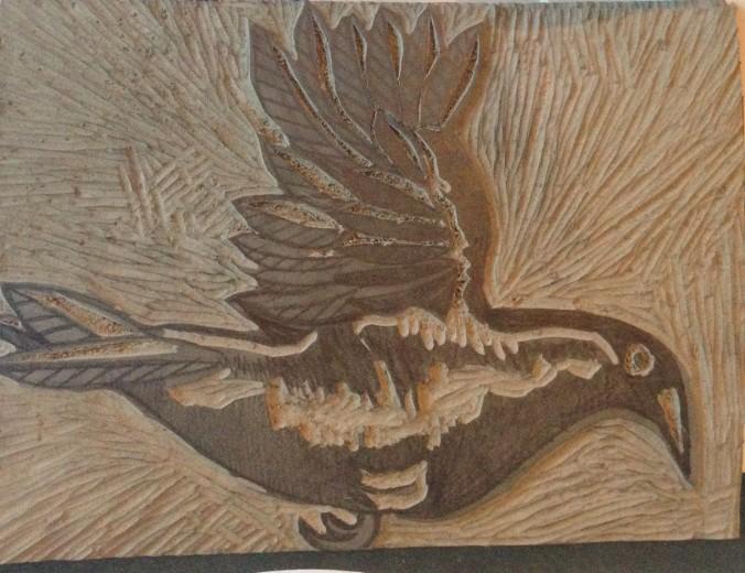 Crow linocut by Myfanwy Tristram