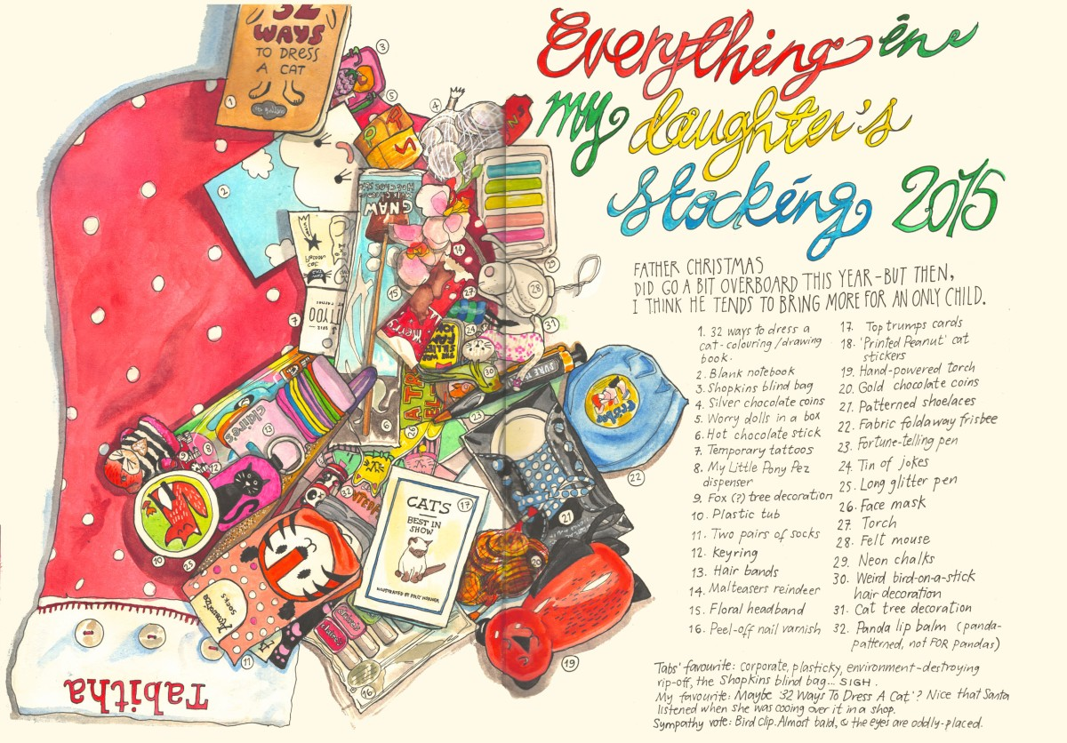 Everything in my daughter's stocking by Myfanwy Tristram