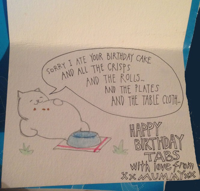 Neko Atsume birthday card by Myfanwy Tristram