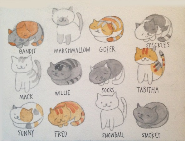 Neko Atsume birthday card by Myfanwy Tristram