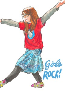 girls rock postcard by Myfanwy Tristram