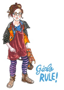 girls rule postcard by Myfanwy Tristram