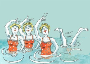 swimmers postcard by Myfanwy Tristram