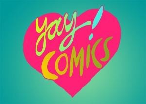 yay comics postcard by Myfanwy Tristram