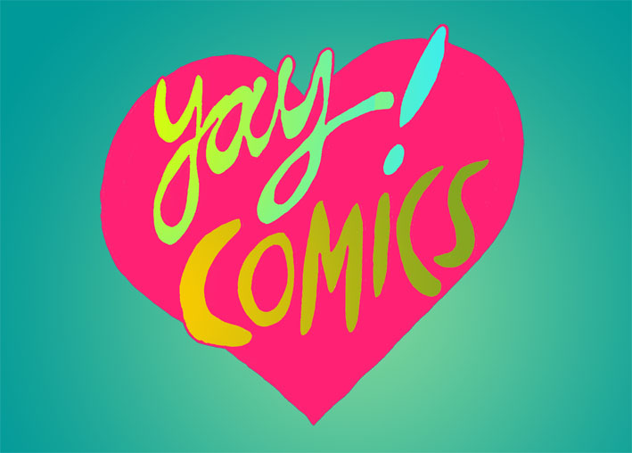 yay comics postcard by Myfanwy Tristram