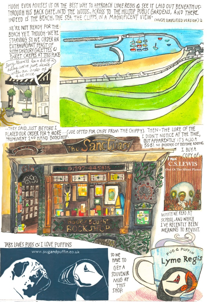 Totnes and Lyme Regis sketch diary by Myfanwy Tristram
