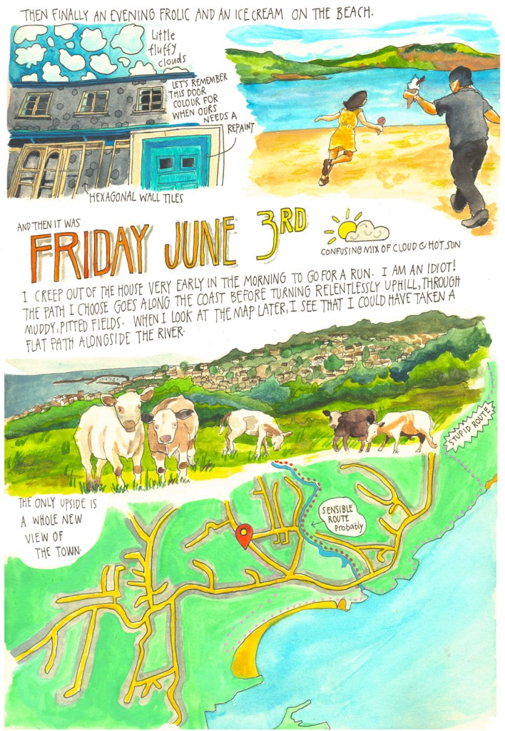Totnes & Lyme Regis holiday sketch diary by Myfanwy Tristram