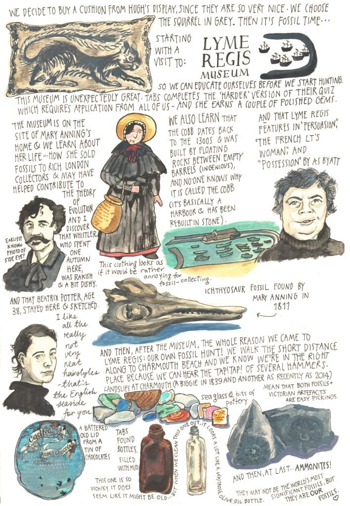 Myfanwy Tristram sketch diary - Totnes and Lyme Regis