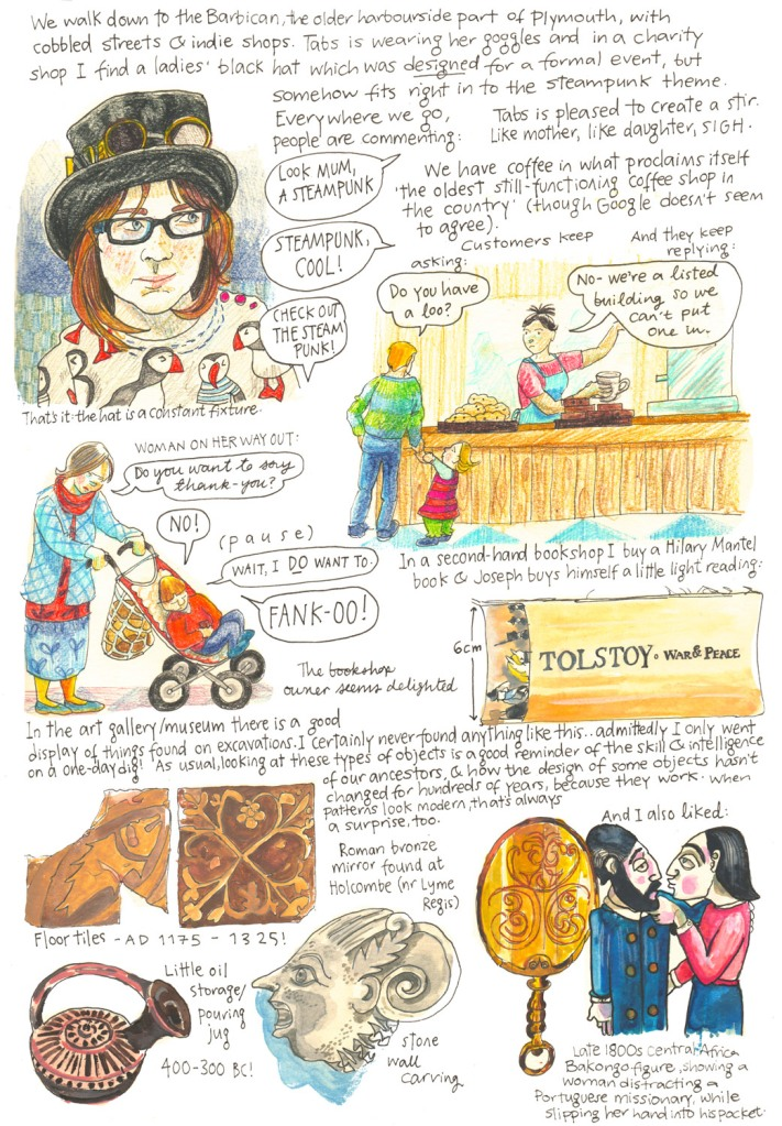 Totnes and Lyme Regis holiday sketch diary by Myfanwy Tristram