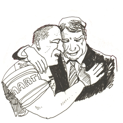 Oct 13: Cronulla Sharks captain Paul Gallen and club legend Andrew Ettingshausen tearfully embracing after an NRL win: an image which won the Nikon Walkley photograph of the year award.