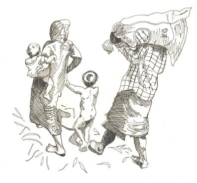 Oct 4: Rohingya families walking towards shelter at the Myanmar border.