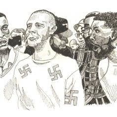 Oct 23: Demonstrators on both sides demonstrate outside a university where white supremacist Richard Spencer was speaking.