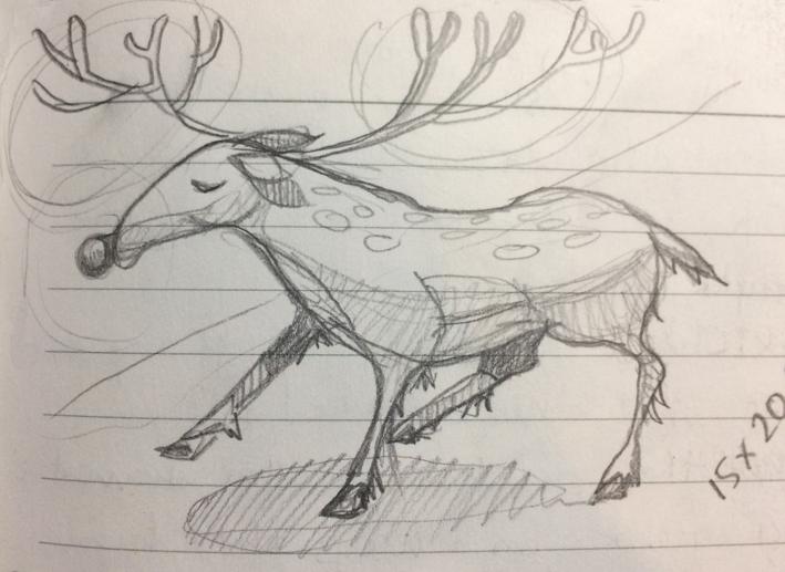 reindeer skecth by Myfanwy Tristram