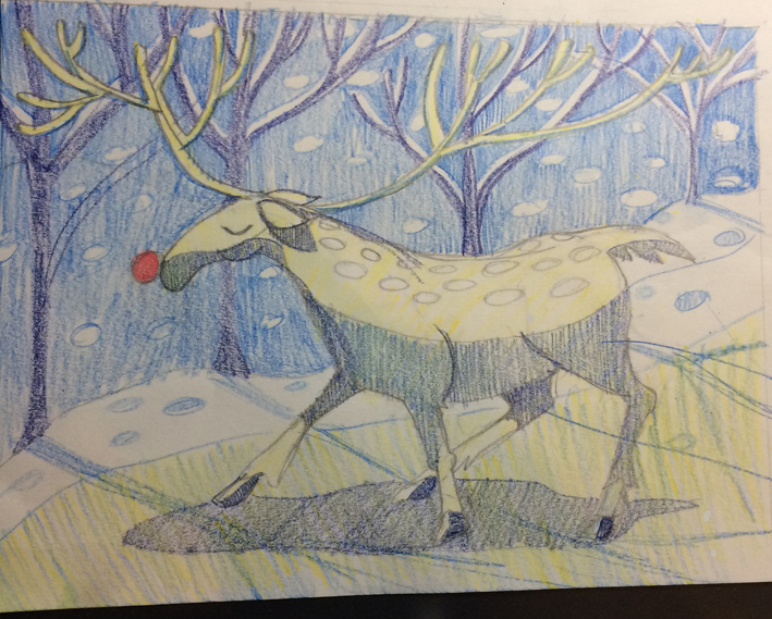 pencil crayon reindeer sketch by Myfanwy Tristram