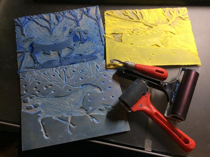 Lino cuts by Myfanwy Tristram
