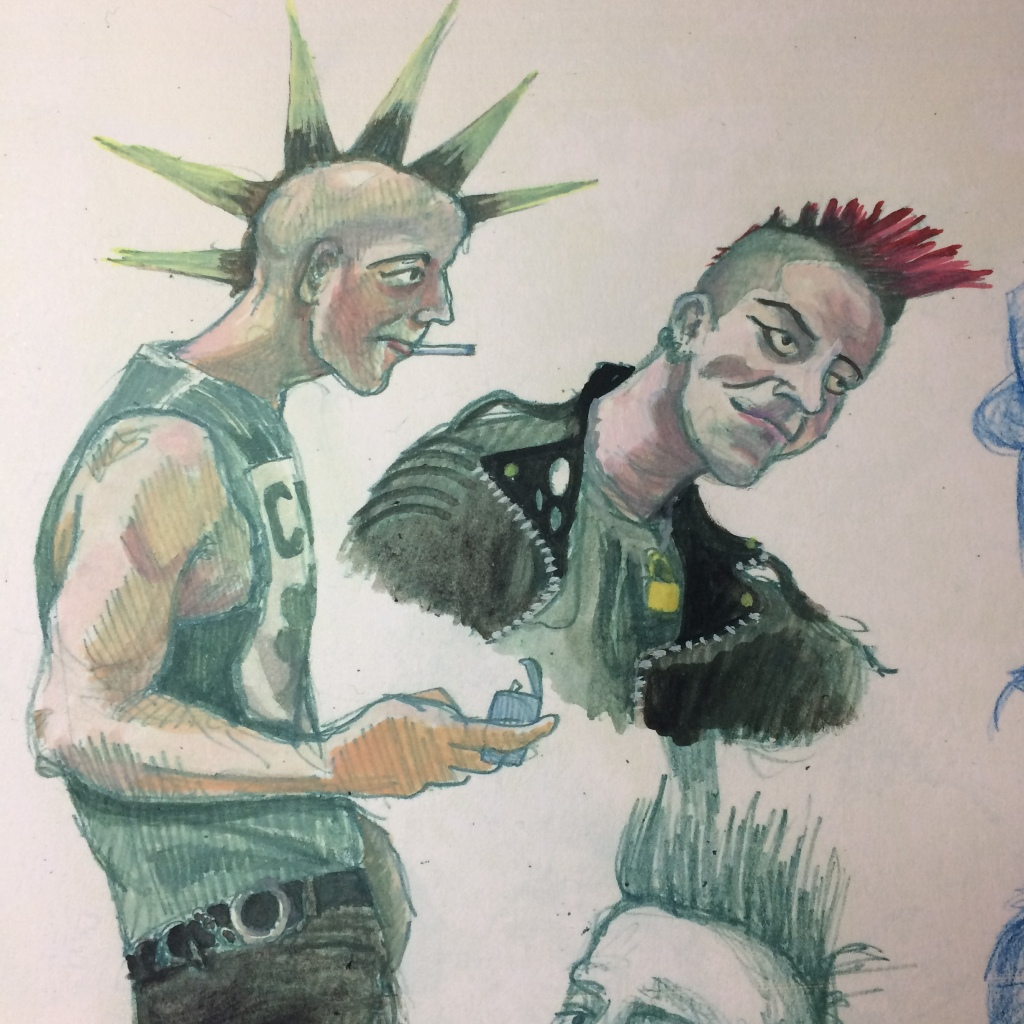 coloured in punks by Myfanwy Tristram