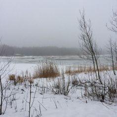 View across the frozen bay at Lauttasaari
