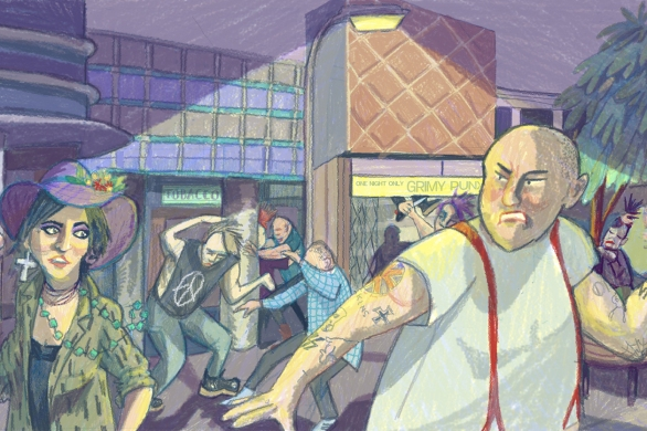 Punks vs skins by Myfanwy Tristram
