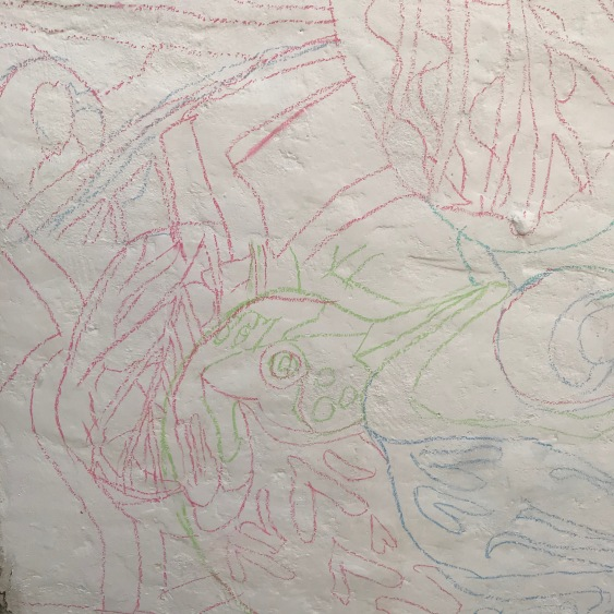 Traced lines of a mural by Myfanwy Tristram