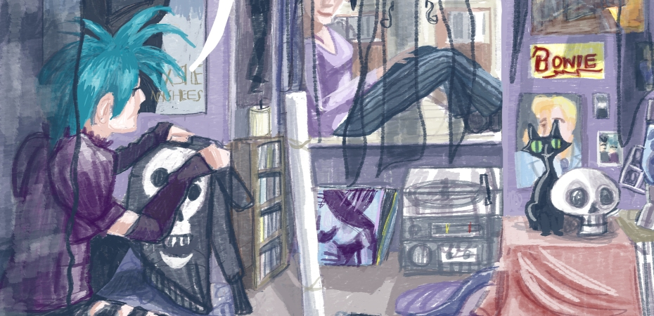 Drawing by Myfawy tristram. Two goths sit in a bedroom. One holds up a hoodie with a skull design on it.