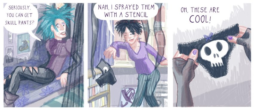 Stencil pants by Myfanwy Tristram; from 'Satin and Tat', a graphic memoir